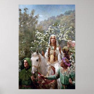 Poster Maying de la Reine Guinevere par John Collier