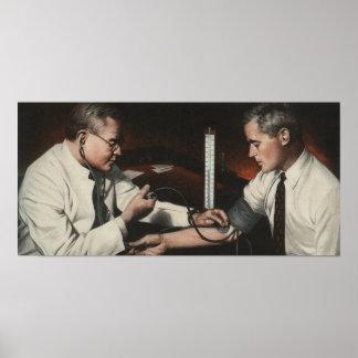 Poster Médecine vintage, docteur Examining un patient