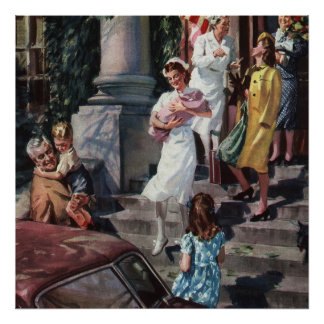 Poster Médecine vintage, infirmière avec le nourrisson