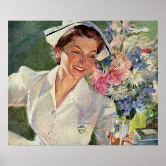 Poster Médecine vintage, infirmière heureuse dans