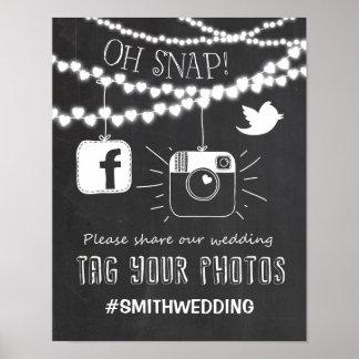 Poster Médias sociaux épousant le signe Instagram de