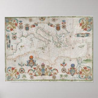 Poster Mediterranean Sea Old Map