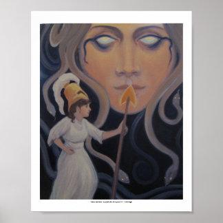 Poster Méduse et Athéna - une vue symbolique