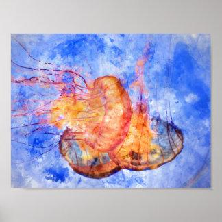 Poster Méduses dans l'aquarelle d'océan