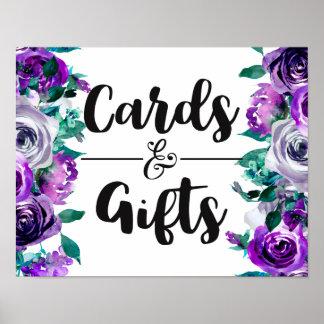 Poster Menthe et cartes et cadeaux de mariage floraux