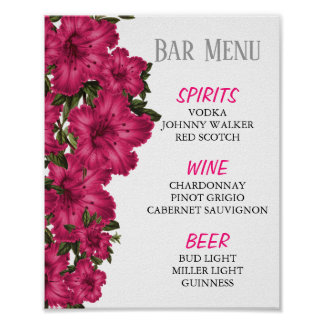 Poster Menu de barre - beaux lis de roses indien