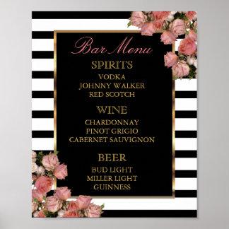 Poster Menu de barre - or rose et mariage de rayure