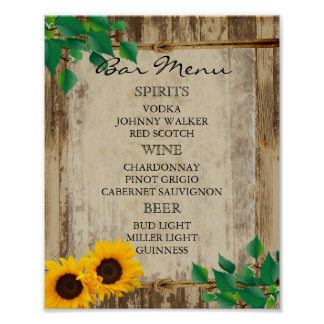 Poster Menu de barre pour un mariage - tournesol