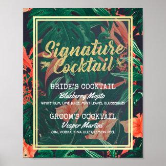 Poster Menu floral tropical de boissons de signature de