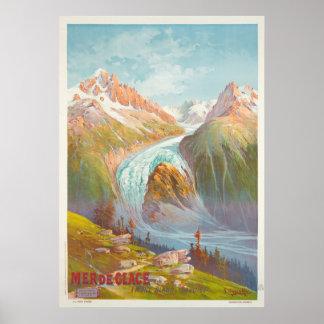 Poster Mer de Glace, Mont Blanc, voyage vintage de la