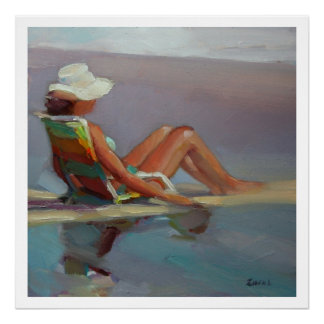 Poster Mer de première ligne - femme à la plage