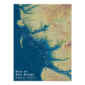Poster Mer de San Diego--Carte de hausse de niveau de la