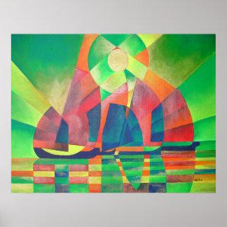 Poster Mer de vert avec des ordures d'abrégé sur cubiste