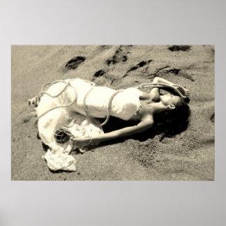poster mer sable plage noir blanc mariée sirène posters