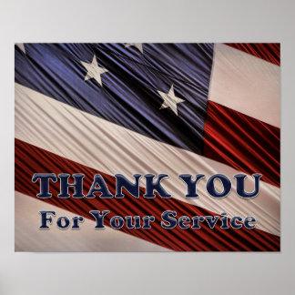 Poster Merci patriotique de drapeau de vétérans