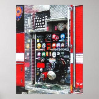 Poster Mesures colorées sur le camion de pompiers