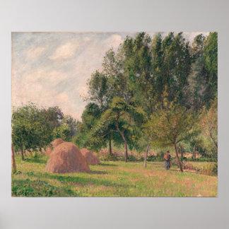 Poster Meules de foin, matin, Eragny