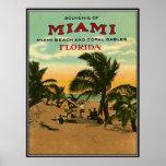 Poster Miami Beach vintage, la Floride, Etats-Unis -