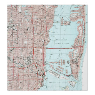 Poster Miami la Floride Map (1988)