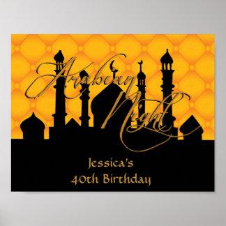 Poster Mille et une nuits, affiche de fête d'anniversaire