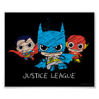 Poster Mini croquis de ligue de justice