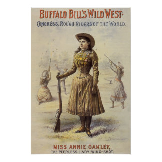 Poster Mlle vintage Annie Oakley, cow-girl occidentale