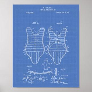 Poster Modèle d'art de brevet des joueurs de baseball