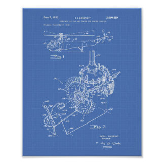 Poster Modèle d'art de brevet du moteur d'avions 1953