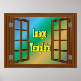 Poster Modèle photo de séquoia de cerise de fenêtre de