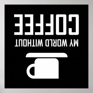 Poster Mon monde sans café upside-down