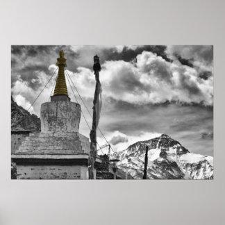 Poster Monastère et mont Everest de Rongbuk