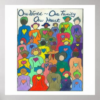 Poster Monde multiculturel de l'affiche une, une famille,
