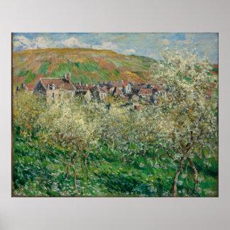Poster Monet vintage 1879 pruniers fleurissants
