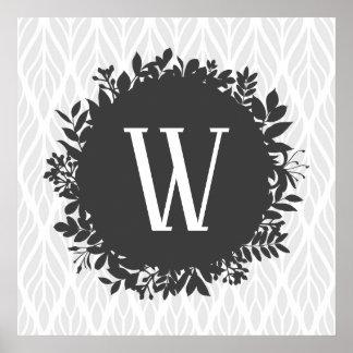 Poster Monogramme feuillu gris-clair et blanc de motif
