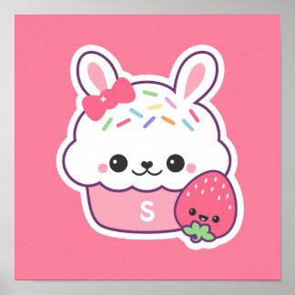 Poster Monogramme rose mignon de petit gâteau de lapin