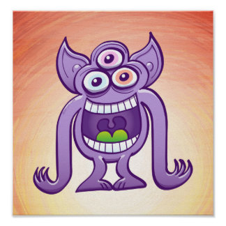 Poster monstre étranger Trois-eyed riant malfaisant