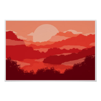 Poster Montagne brumeuse