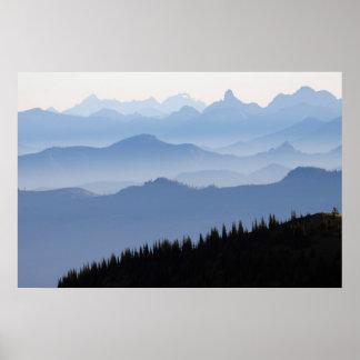 Poster Montagnes de cascade du parc national de mont