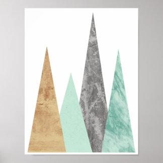 Poster Montagnes de cuivre et en bon état. Géométrique