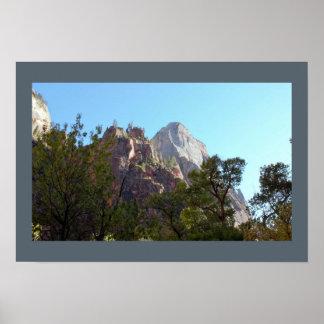 Poster Montagnes et parc national de Zion d'arbres