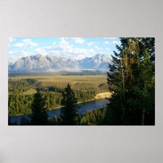 Poster Montagnes et rivière de Jackson Hole