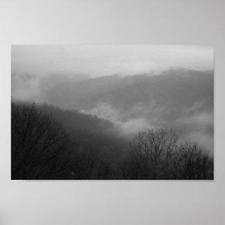 Poster Montagnes fumeuses, la Caroline du Nord