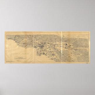 Poster Montagnes Map (1915) de Los Angeles et de San