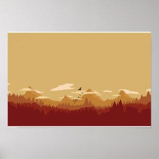 Poster Montagnes rouges