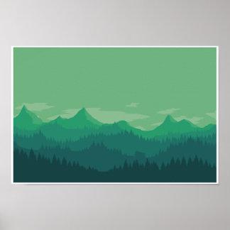 Poster Montagnes vertes
