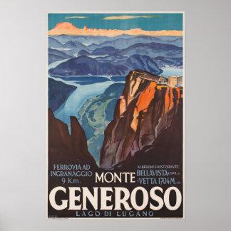 Poster Monte Generoso, Suisse, affiche de voyage