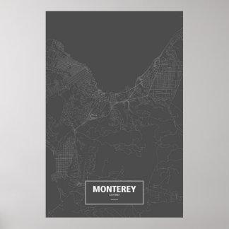 Poster Monterey, la Californie (blanche sur le noir)
