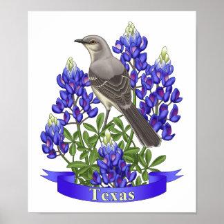 Poster Moqueur d'état du Texas et fleur de Bluebonnet