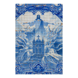Poster Mosaïque bleue de tuile de Jésus, Portugal