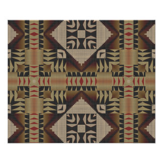 Poster Mosaïque tribale ethnique noire rouge foncé de